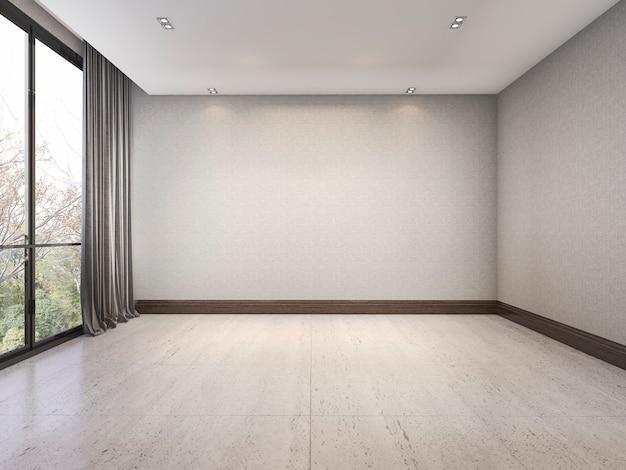 3d che rende stanza minima bianca vuota con la carta da parati piacevole vicino alla finestra