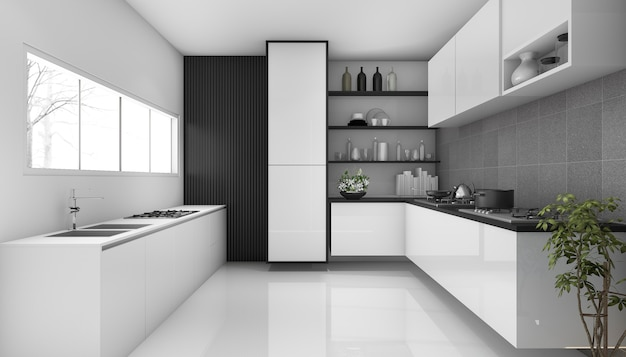 3d che rende stile moderno della cucina del sottotetto bianco