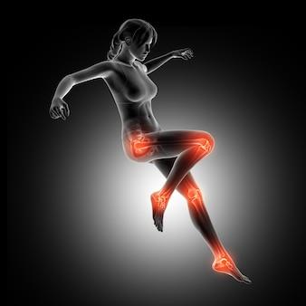 3d figura femminile atterraggio da un salto con le articolazioni delle gambe evidenziate