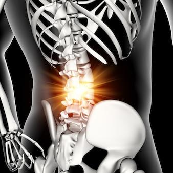 3d figura medica maschile con colonna vertebrale inferiore evidenziata