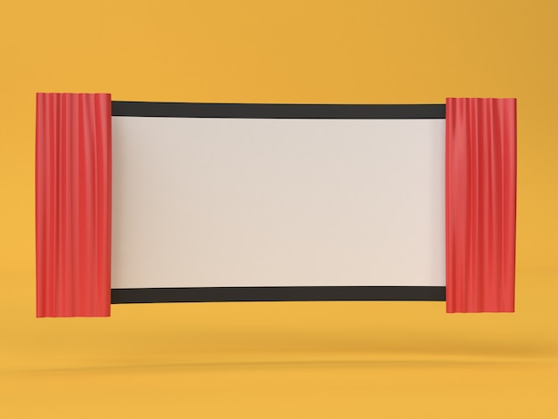 3d film in bianco astratto film-cinema schermo, cinema, concetto di intrattenimento