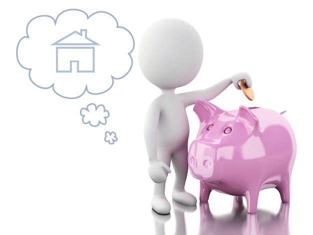 3d gente bianca con porcellino salvadanaio, pensando di acquistare una nuova casa.