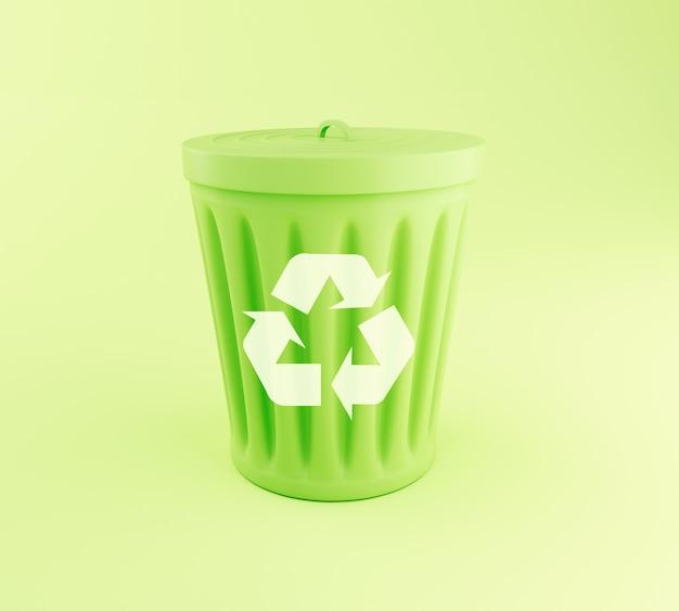 3d green cestino.