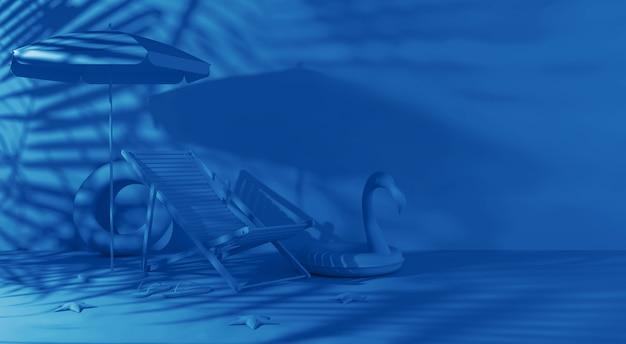 3d ha reso il fondo dell'estate nei colori blu classici d'avanguardia. una chaise longue, ombrellone, pantofole, stelle marine, cerchio di fenicotteri gonfiabile con ombra da palme.