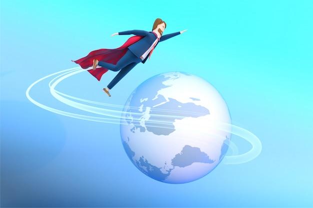 3d ha reso l'illustrazione dell'uomo d'affari in vestiti di un supereroe