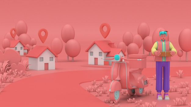 3d illustrano consegna veloce e gratuita in scooter per il concetto di e-commerce mobile di servizio alimentare. pagina web grafica per ordini alimentari online, progettazione di app, consegna a domicilio e magazzino per ufficio