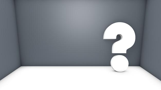 3d isolato che rende il punto interrogativo bianco in una stanza grigia con spazio per testo