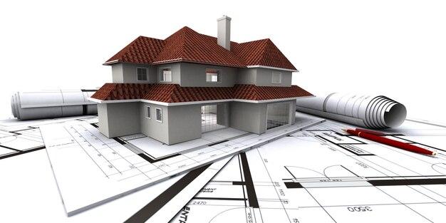 3d isometrico visualizza la casa residenziale sul disegno dell'architetto