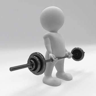 3d morph man che si esercita con i pesi della palestra