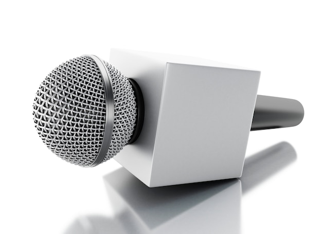 3d notizie microfono tv. concetto di notizie