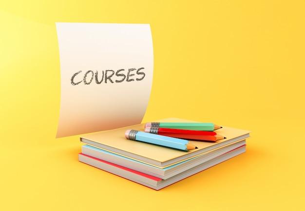 3d pila di libri colorati, matite e fogli di carta