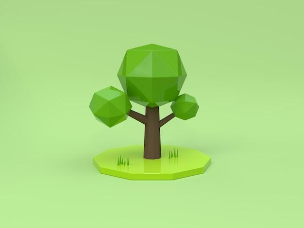3d rappresentazione verde bassa di stile 3d del fumetto del fondo poli
