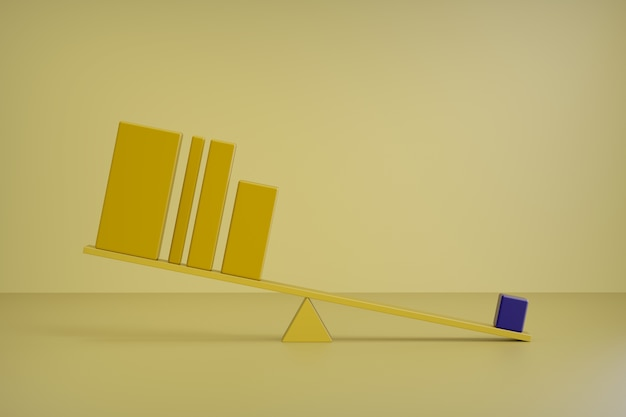 3d render barre gialle. equilibrio, concetto grafico a barre, concetto di affari dell'equilibrio