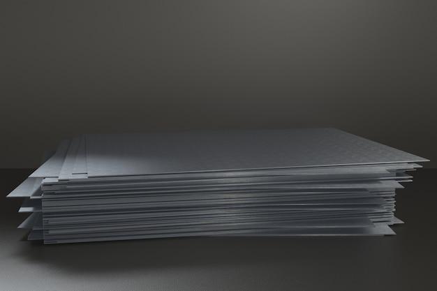 3d render piattaforma per la progettazione, supporto del prodotto in bianco, lamiera di acciaio