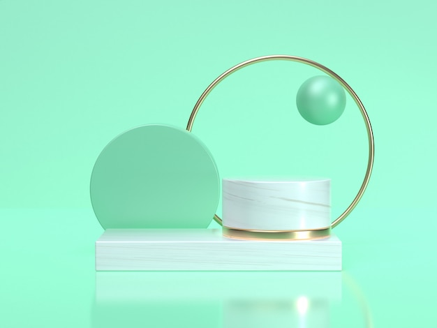 3d rendering astratto geometrico forma still life set cornice bianca verde scena cerchio d'oro
