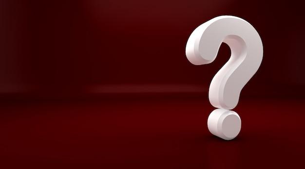 3d rendering del punto interrogativo bianco su sfondo rosso. esclamazione e punto interrogativo