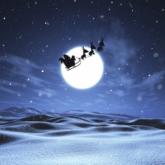 3d rendering di babbo natale e le sue renne volare attraverso un cielo notturno in un paesaggio innevato