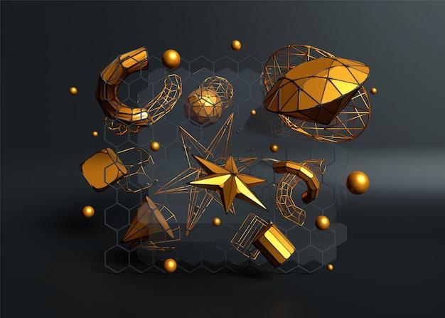 3d rendering di elementi di cristallo dorati come sfere, stelle, tubi