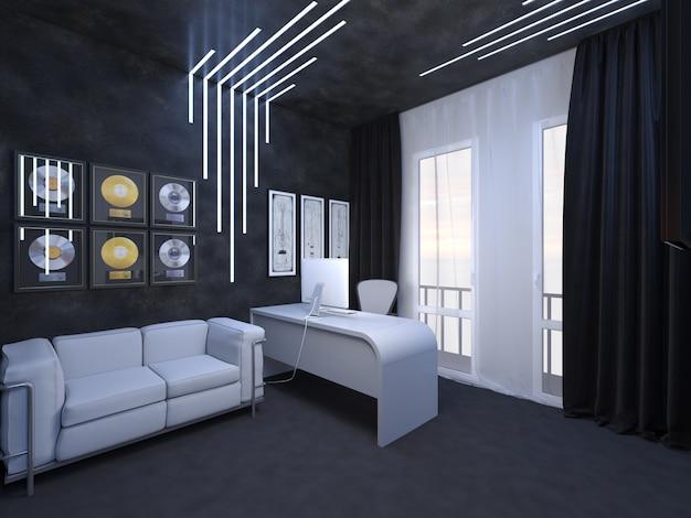 3d rendering di interior design di un destino ufficio del chitarrista