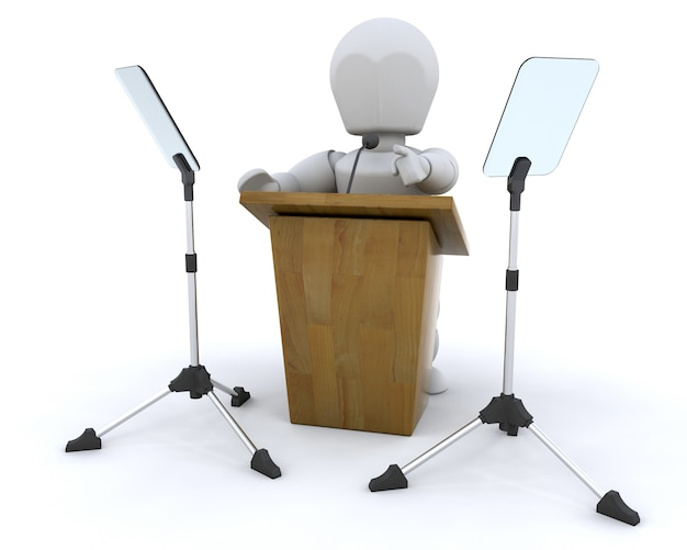 3d rendering di leggio e microfono e teleprompter