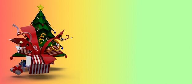 3d rendering di per natale e felice anno nuovo concetto. è costituito da alberi di natale, scatole regalo e bellissimi giocattoli che esplodono.