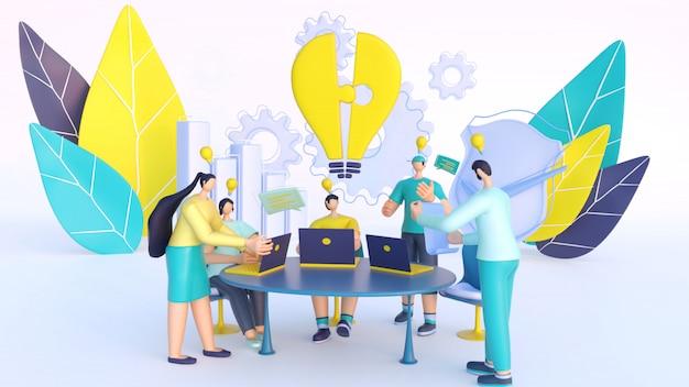 3d rendering di persone che discutono insieme sul posto di lavoro con elementi aziendali per il lavoro di squadra.