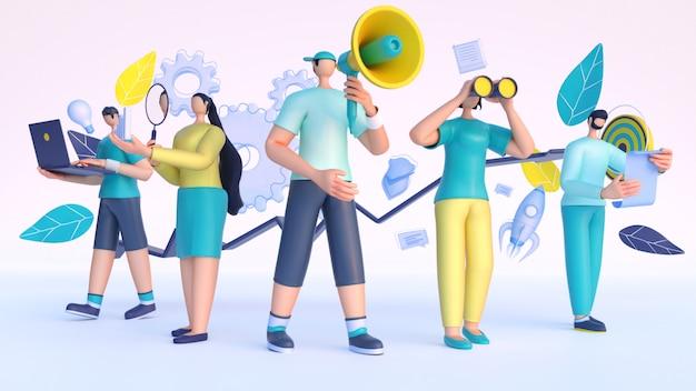 3d rendering di persone che lavorano da diversi elementi aziendali.