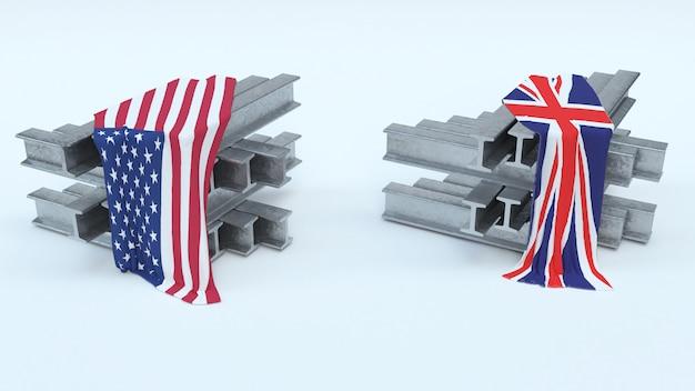 3d rendering di tarificazioni di importazione in acciaio degli stati uniti