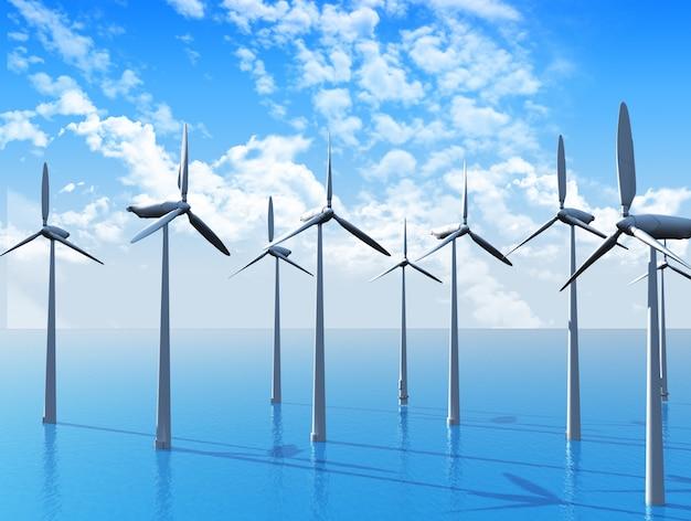 3d rendering di turbine eoliche in mare