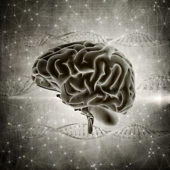 3D rendering di un'immagine del cervello di stile grunge su uno sfondo di filamenti di DNA