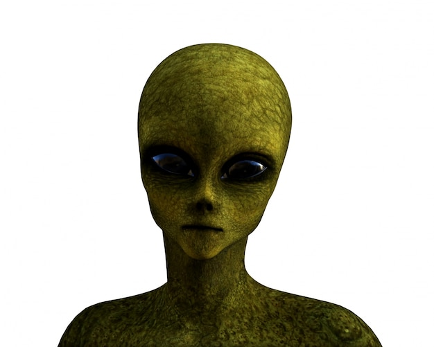 3d rendering di un alieno verde