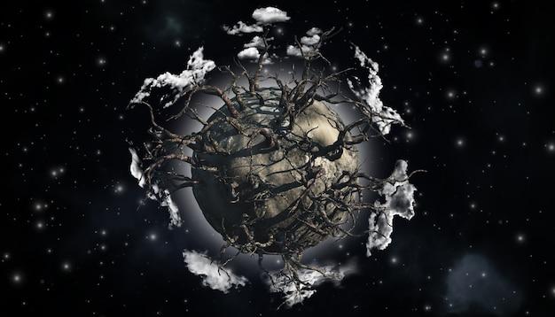 3d rendering di un astratto pianeta ricoperto di alberi morti in una scena di spazio