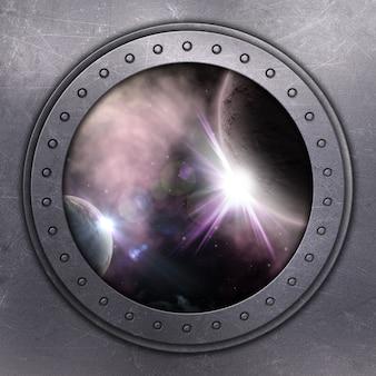 3d rendering di un buco della porta che si affaccia spazio