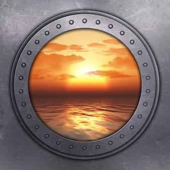 3d rendering di un buco della porta che si affaccia sul mare