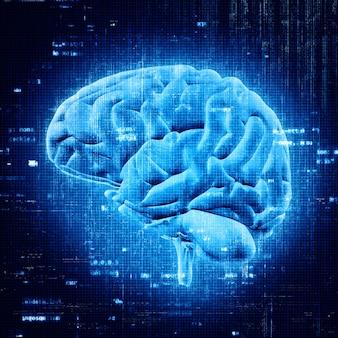 3D rendering di un cervello luminoso con codice di programmazione astratta