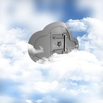 3d rendering di un concetto di archiviazione on-line tra le nuvole