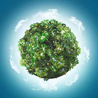 3d rendering di un globo coperta di erba e fiori