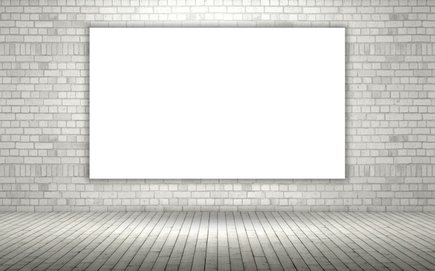 3d rendering di un muro di mattoni a vista con una tela in bianco