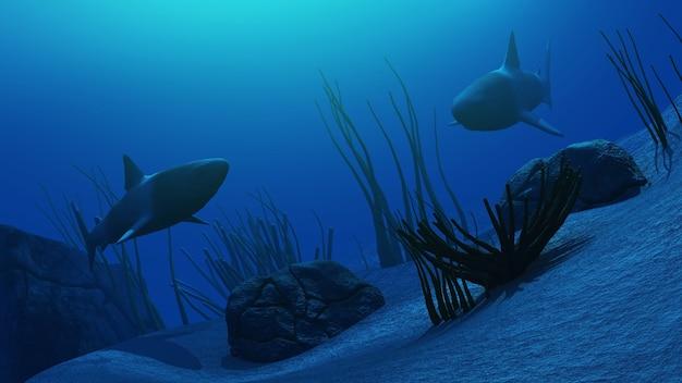 3d rendering di un sceme subacquea con gli squali