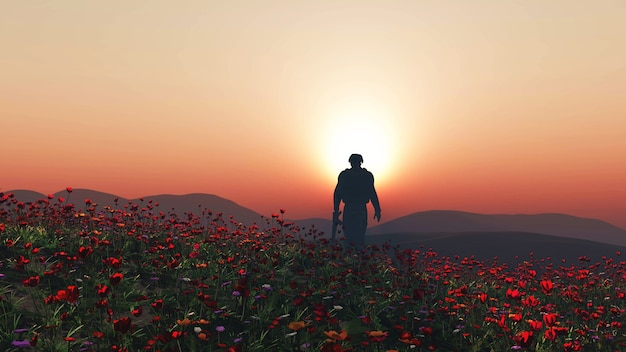 3d rendering di un soldato che cammina in un campo di papavero
