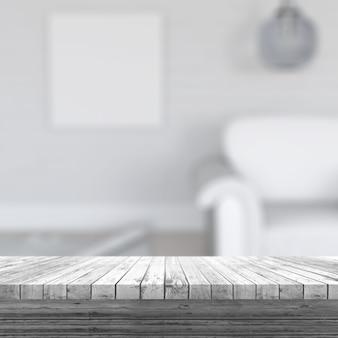 3d rendering di un tavolo di legno bianco che guarda fuori ad un interno della stanza defocussed