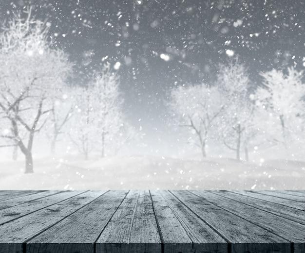 3d rendering di un tavolo di legno che guarda ad una paesaggio invernale