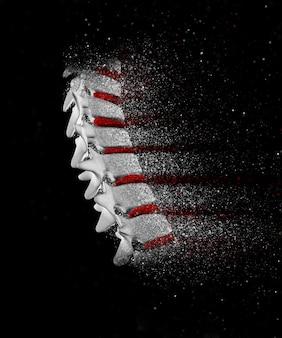 3d rendering di una immagine della colonna vertebrale con effetto disgregazione
