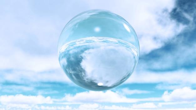 3d rendering di una sfera di vetro tra le nuvole