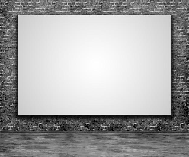 3d rendering di una tela vuota su un muro di mattoni