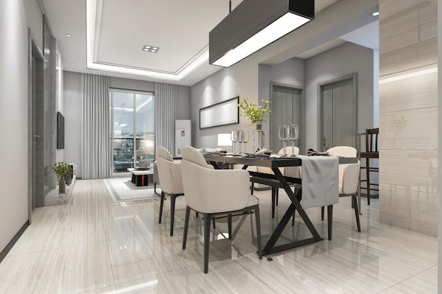 3d rendering moderna sala da pranzo e soggiorno con arredamento di lusso