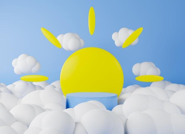 3d rendering podio blu e sfondo sole e nuvole.