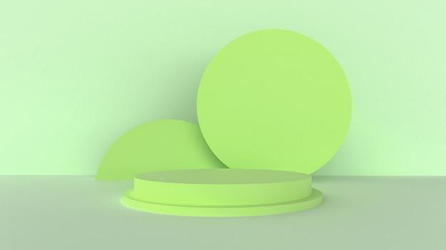 3d rendono, colore verde e di menta con un concetto astratto minimo.
