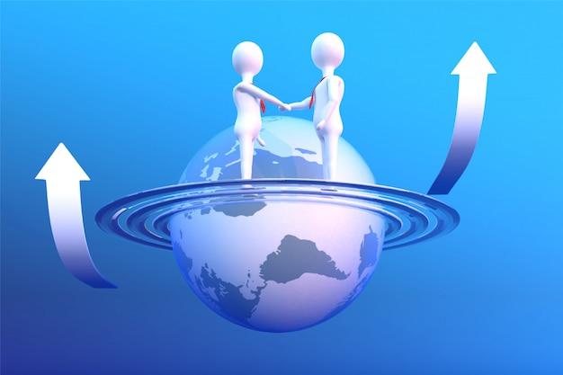 3d rendono degli uomini d'affari che stringono le mani che stanno sul pianeta con la freccia ascendente.