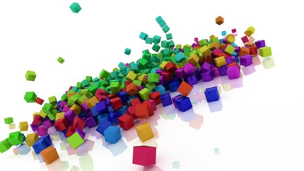 3d rendono dei cubi colorati arcobaleno